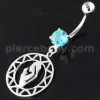 Sterling Silver Praying Women Navel Belly Piercing
