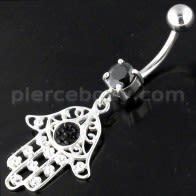 925 Sterling Ajan Floral Fathima men Navel Belly Bar