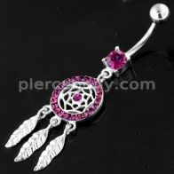 925 Sterling Silver Múltiples Jeweled Dream Catcher Navel Belly Bar