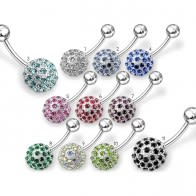 Jeweled Half Ball Non-Moving Belly Ring