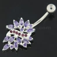 Sterling Silver Multi Jeweled Floral Navel Belly button Piercing