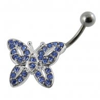 Jeweled Butterfly Non-Moving Belly Ring Body Jewelry
