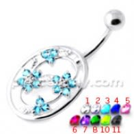 Flower in frame Non Dangling Belly Bar