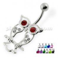 Red Eye Jeweld Owl Belly Piercing