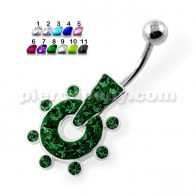Multi Jeweled Doted pattern Navel Belly Piercing