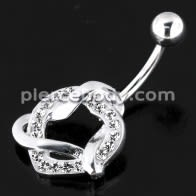 Fancy Jeweled Heart Non-Moving Navel Belly Ring Body Jewelry