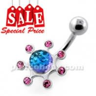 Multi jeweled Sun Rays Navel Belly Bar