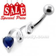 Fancy Jeweled Swirl Navel Belly Bar