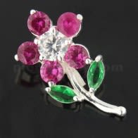 925 Sterling Silver Jeweled Flower with Leaf Pendant
