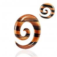 Organic Iron and Saba Wood Spiral Ear Expander Gauges