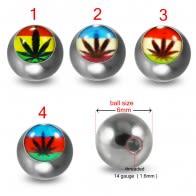 316L Surgical Steel 14G Threaded marijuana Logo balls