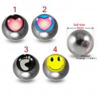 316L Surgical Steel 14G Threaded Ying Yang Logo balls