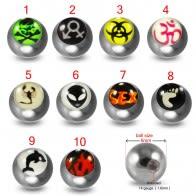 316L Surgical Steel 14G Threaded Marijuana Design Logo balls