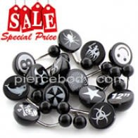 50 Pieces Laser Logo on UV Black Half Ball Belly RIng