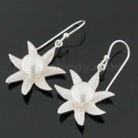 925 Sterling Silver Star Fish with Pearl Ear Ring
