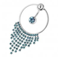 Single Jewel with Hanging Gem Necklace Navel Belly Ring