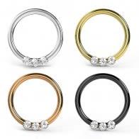 Tri CZ Jeweled Swirl Segment Clicker Ring