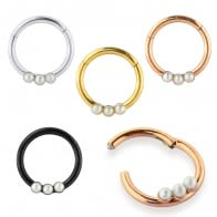 Tri Pearl Jeweled Classic Segment Clicker Ring