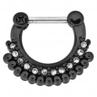 Black PVD Single Line Micro Paved CZ with Tribal Dots Septum Clicker