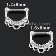 5 CZ Jewelled Floral Septum Clicker Piercing