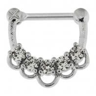 5 CZ Jeweled Floral Septum Clicker Piercing