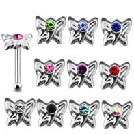 925 Sterling Silver Jeweled Butterfly Nose Stud