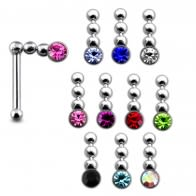 925 Silver Jeweled Chain Dangling Nose Stud