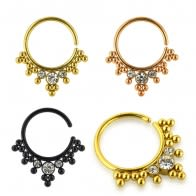Anodized Jeweled and Dotted Ornate Tribal Septum Ring Jewelry