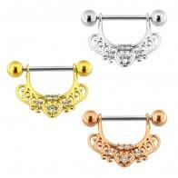 Jeweled Heart Floral Nipple Piercing Bar