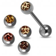 Tongue Barbell with 4 Free Interchange Leopard Skin Printed Logo Ball