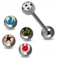 Tongue Barbell with 4 Free Interchange Logo Ball