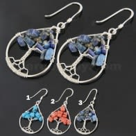925 Sterling Silver Tree of Life Tear Shape Cut out earring