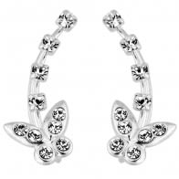925 Sterling Silver Butterfly with Dazzling CZ Stone Ear Pin Stud