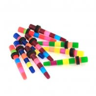 Pack of 10 Pieces 5 mm Multi Color Stripes Ear Straight Expander