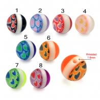 Fancy Stripe Design Heart Transparent UV Balls