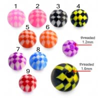 Mixed Checkered Color UV Fancy Ball Bead Lip Chin Balls