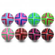 Assorted Color Flexible UV Fancy Print Piercing Balls
