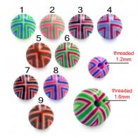 Assorted Color Flexible UV Fancy Print Piercing Balls