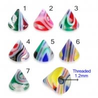 UV Fancy Colorful Glossy Marble Cone Accessories
