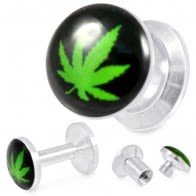 316L Surgical Steel Marijuana Logo Screw Fit Flesh Tunnel