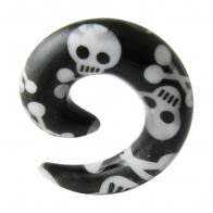 Spiral Hand Painted Skull Ear Expander Body Jewelry