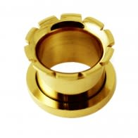 Front Screw Fit Hollow Grooved And Flared Flesh Tunnel