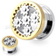 SS Steampunk Gold Web Screw Fit Flesh Tunnel