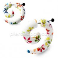 Multi Color Flowers Spiral Fake UV Ear Expander