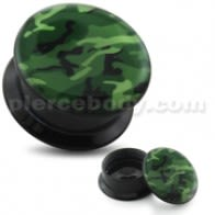 Green Army Pattern UV Internal Screw Fit Ear Tunnel