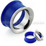 Dark Blue UV Acrylic with Steel Internal Thread Flesh Tunnel
