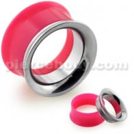 Pink UV Acrylic with Steel Internal Thread Flesh Tunnel