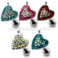 Heart Crystal Surgical Steel Fake Ear Plug