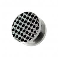 Black Dots on White Glitter Ear gauges