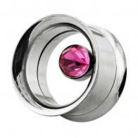 Single Crystal Stone In Bezel Set Ear Gauges Tunnel